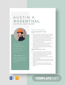 Electrical Craft Helper Resume Template