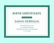 Free Basic Birth Certificate Template