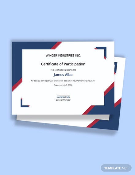 Free Basketball Participation Certificate Template