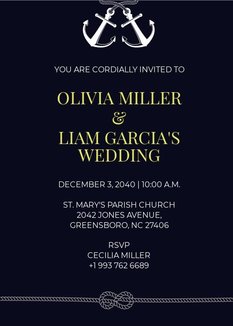 Maritime Fall Wedding Invitation template