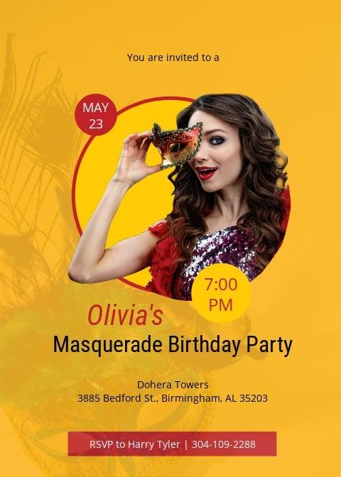 Masquerade Ball Celebration Party Invitation Template