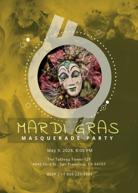 Masquerade Ball Invitation Mardi Gras Party Template.jpe