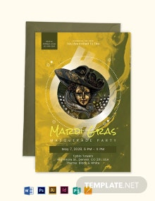 Masquerade Ball Invitation Mardi Gras Party Template