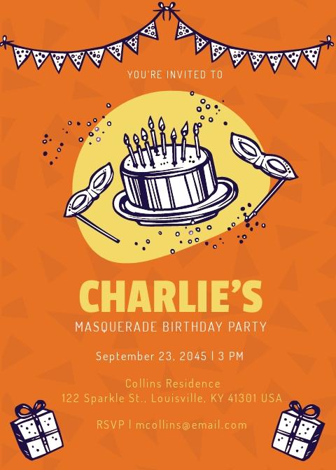 Masquerade Birthday Invitation Template