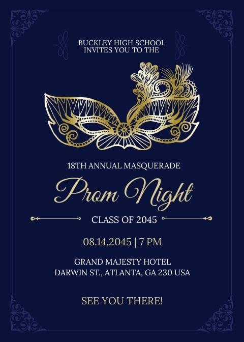 Masquerade Prom Invitation Template.jpe