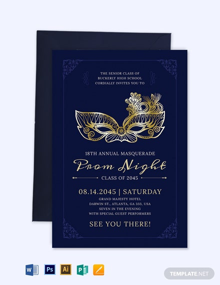 Masquerade Prom Invitation Template