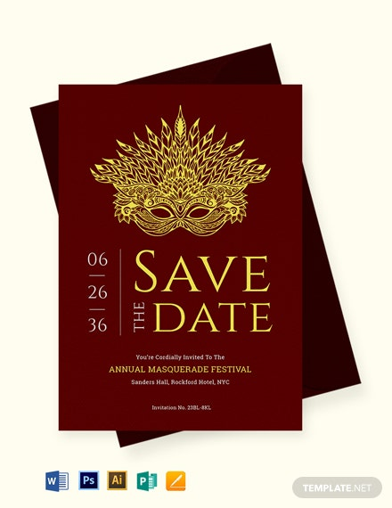 Masquerade Save the Date Invitation Template