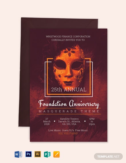 Masquerade Theme Invitation Template