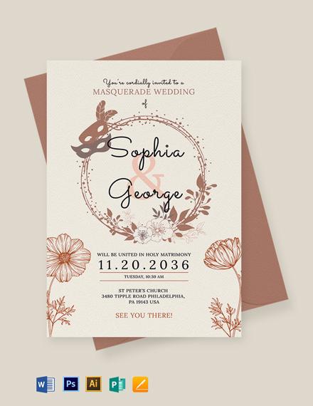 Masquerade Wedding Invitation Template