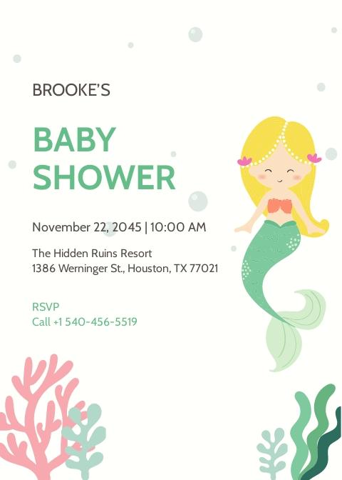 Mermaid Baby Shower Invitation Template.jpe