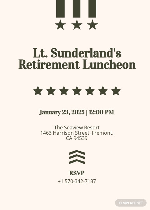 Military Retirement Invitation Template