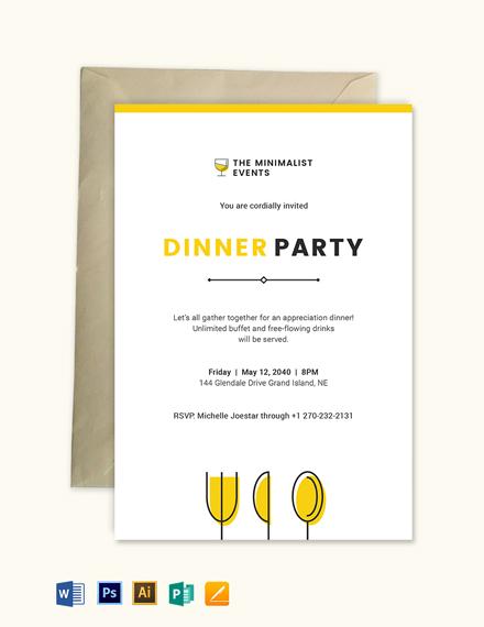 Minimal Appreciation Dinner Invitation Template