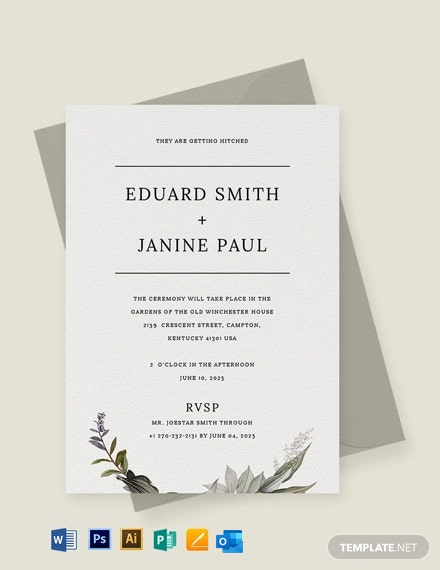 Minimalist Fall Wedding Invitation Template