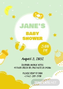 Mint White and Gold Baby Invitation Template