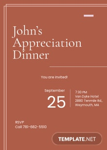 Modern Appreciation Dinner Invitation Template