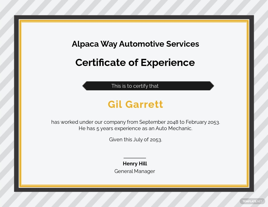 Car Workshop Experience Certificate Template
