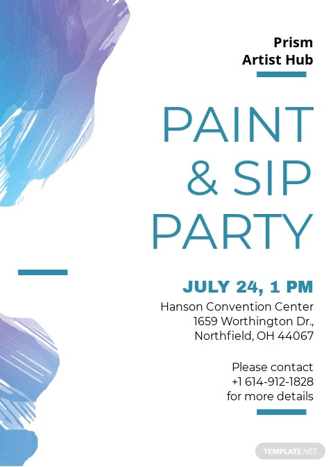 Modern Paint and Sip Invitation Template [Free JPG] - Illustrator, Word, Apple Pages, PSD, Publisher