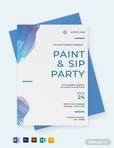 Modern Paint and Sip Invitation Template
