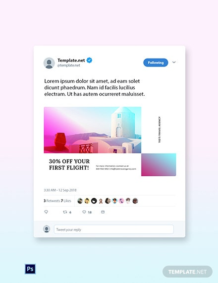 Free Elegant Travel Twitter Post Template