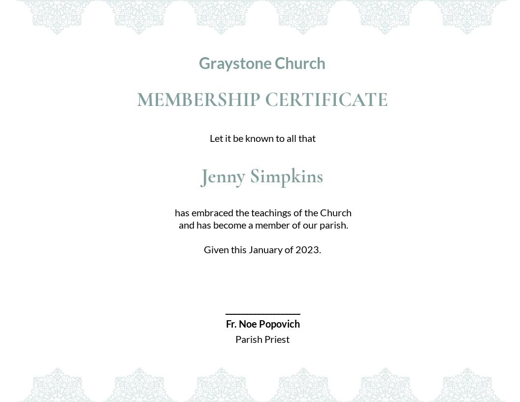 Free Church Membership Certificate Template.jpe