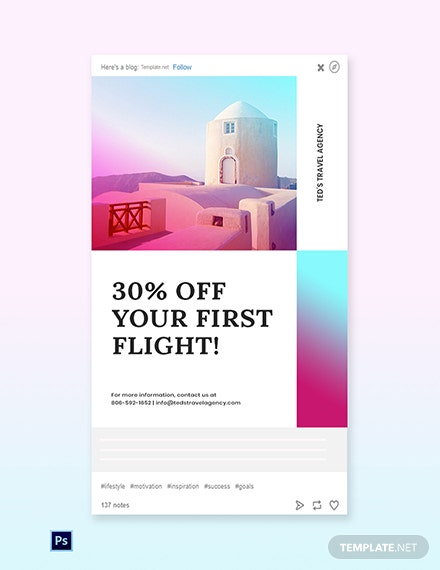 Free Elegant Travel Tumblr Post Template