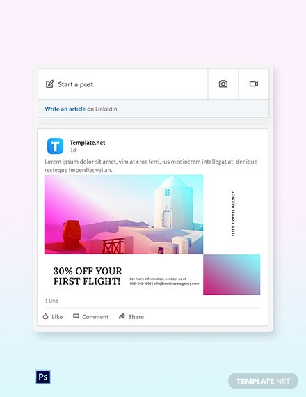 Free Elegant Travel LinkedIn Post Template