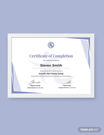 Free Completion of Training Certificate Template