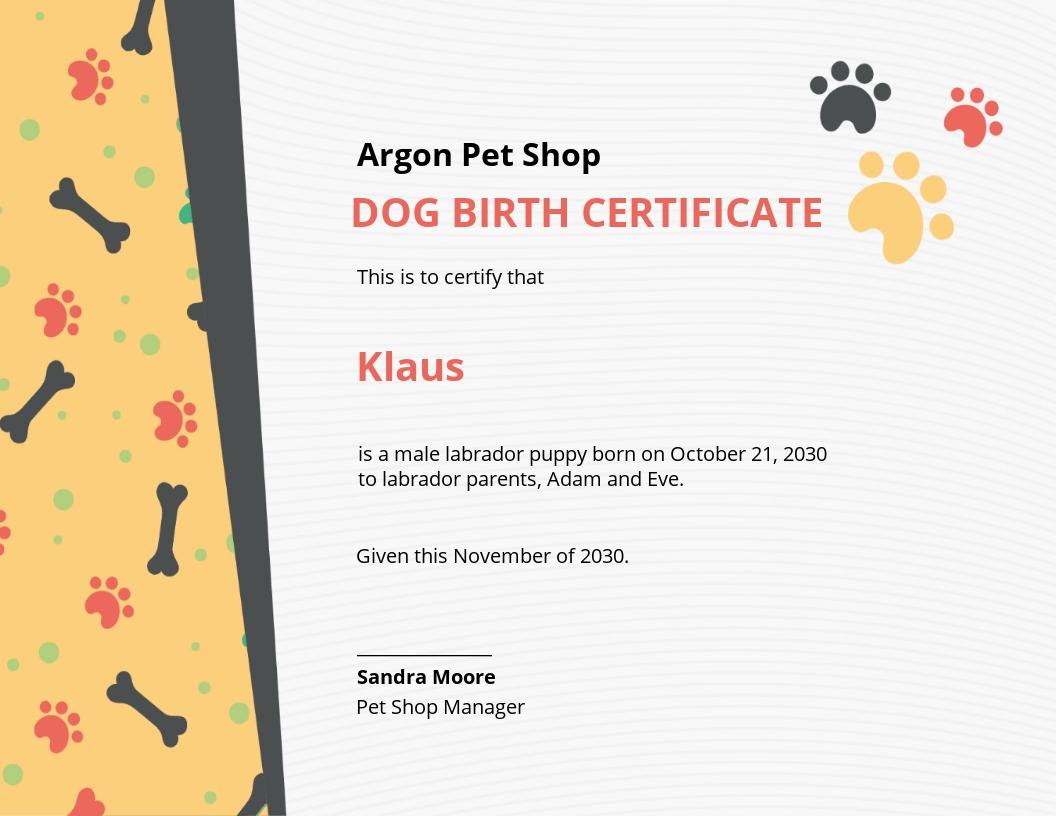 Free Dog Birth Certificate Template.jpe