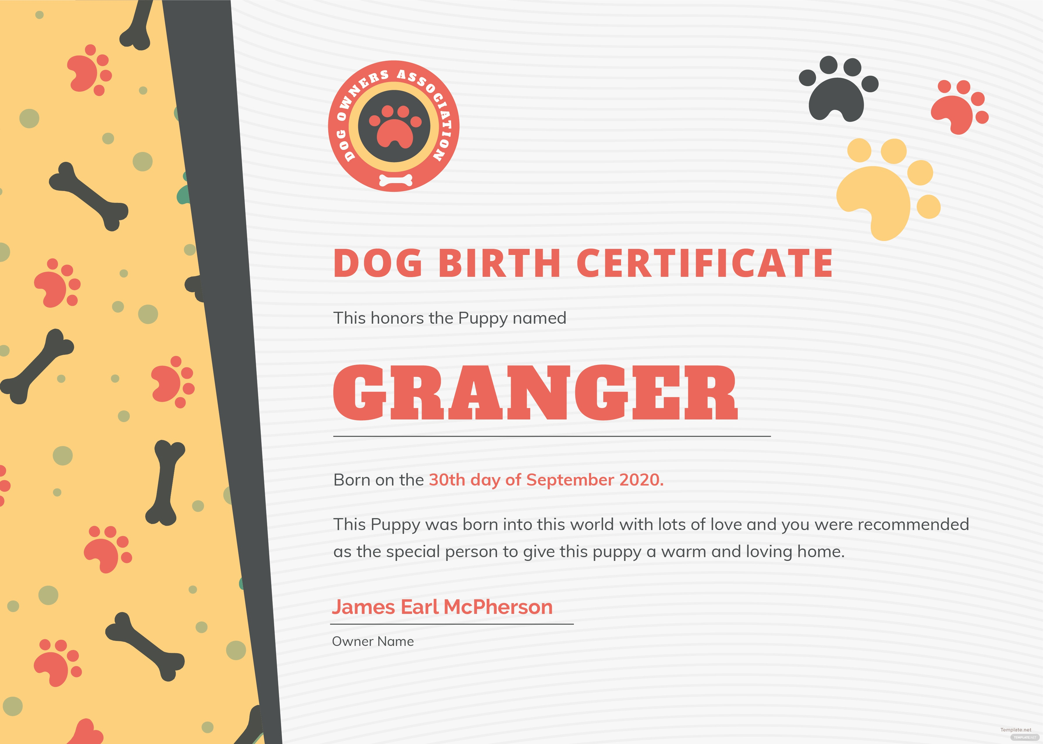 Free Dog Birth Certificate Template in Adobe Photoshop, Illustrator ...