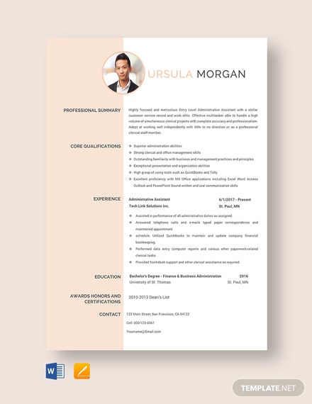 Free Experienced Administrative Assistant Resume