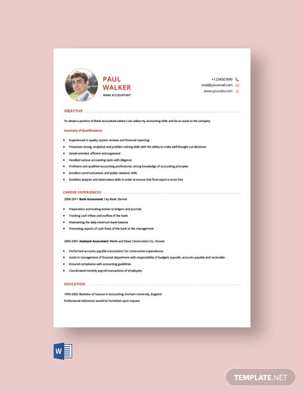 Free Bank Accountant Resume Template