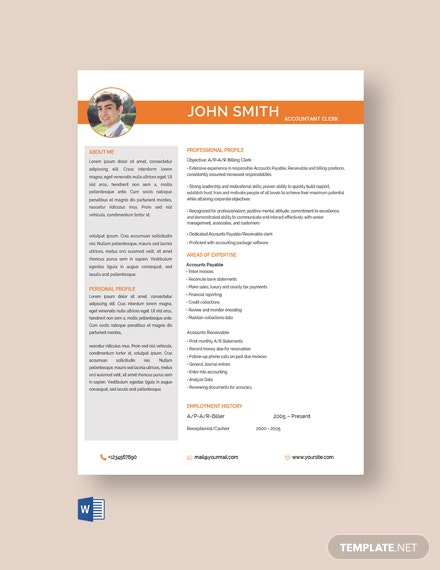Free Senior Accounting Clerk Resume Template