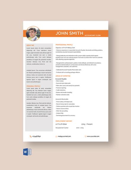 Senior Accounting Clerk Resume Template