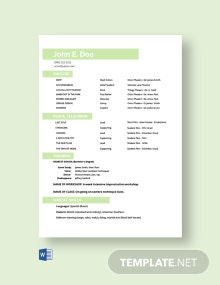 Free Actor Model Resume Template
