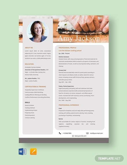Free Assistant Chef Resume Template