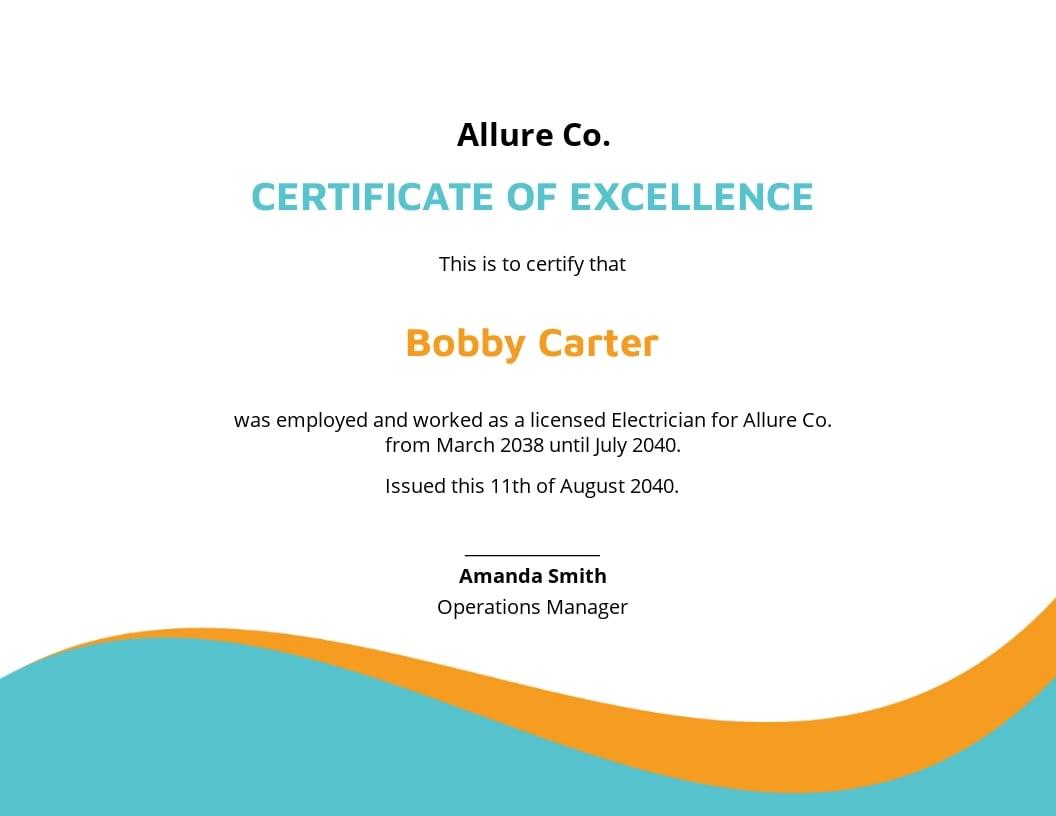 Electrician Experience Certificate Template