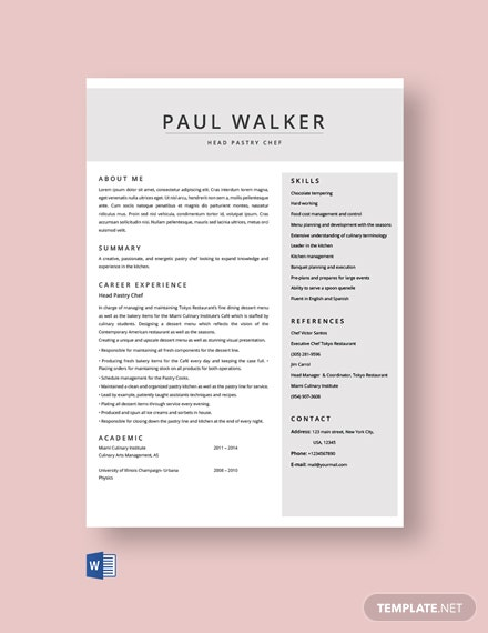 Free Pastry Chef Resume Template
