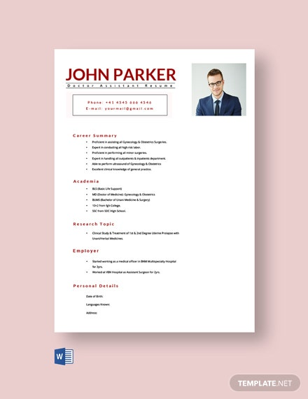 Free Doctor Assistant Resume Template