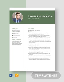 Area Supervisor Resume Template