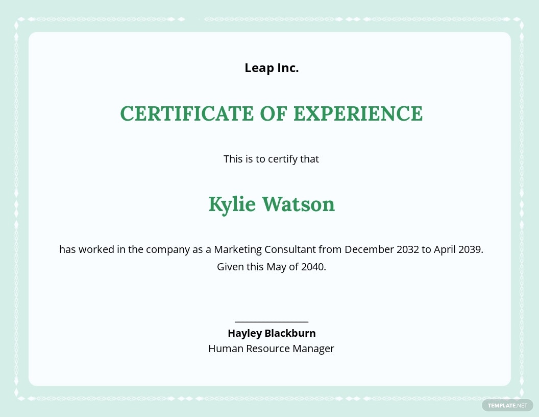 Employee Experience Certificate Template