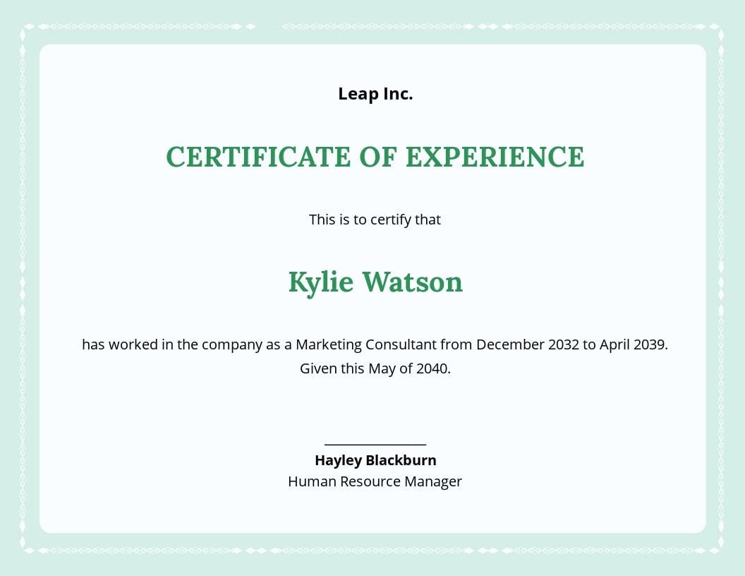 Free Employee Experience Certificate Template.jpe