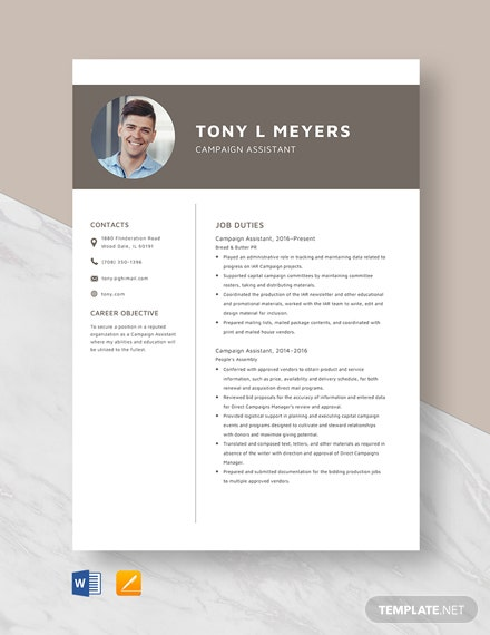 Campaign Assistant Resume Template
