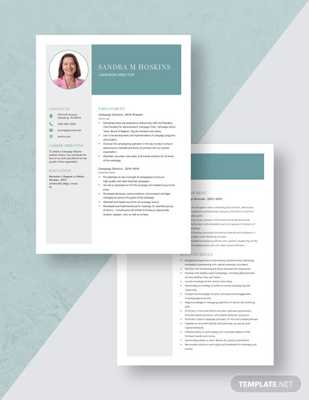 Campaign Director Resume Download