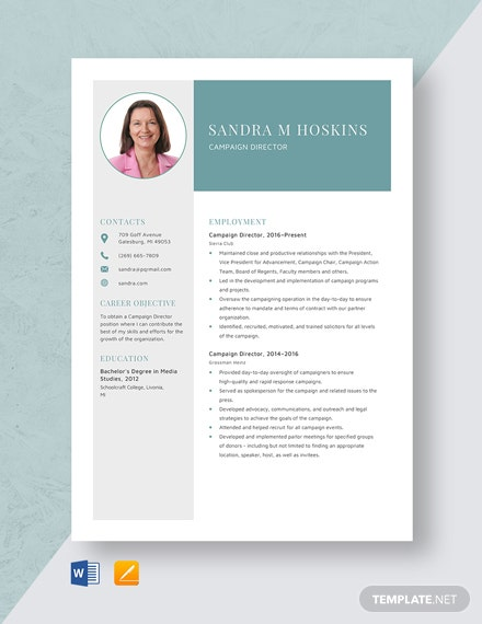 Campaign Director Resume Template