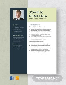 Campaign Field Director Resume Template