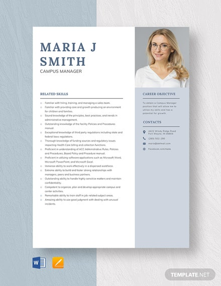 Campus Manager Resume Template