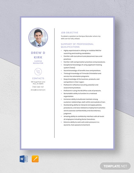 Campus Recruiter Resume Template