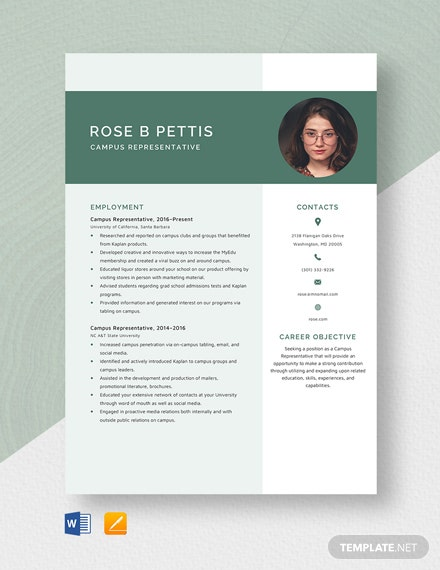 Campus Representative Resume Template