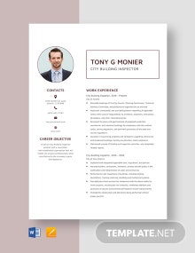 City Building Inspector Resume Template