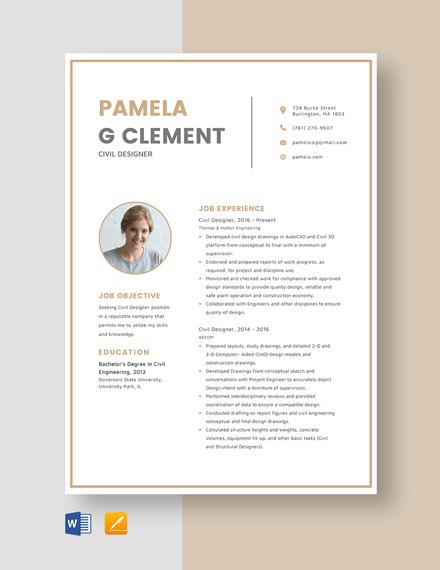 Civil Designer Resume Template